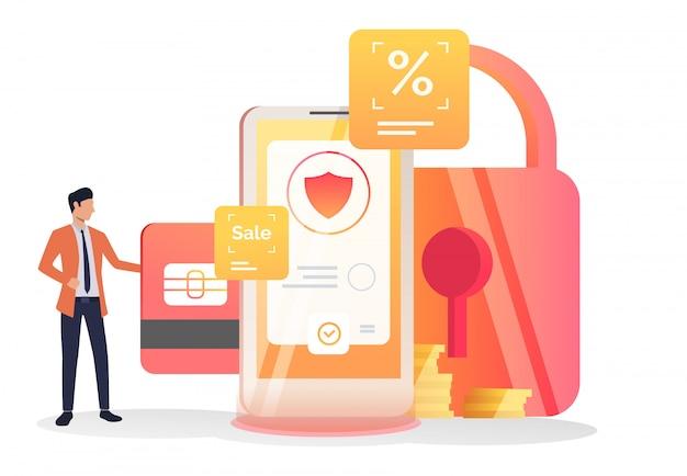 Chef d'entreprise insérant une carte de crédit dans une cellule Vecteur gratuit