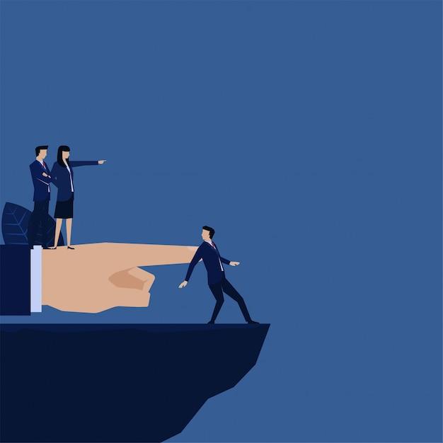 Le chef d'entreprise a licencié un employé et a envoyé à la métaphore de gap le mot «éliminer» Vecteur Premium
