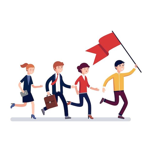 Chef d'entreprise ouvrant la voie à ses collègues Vecteur gratuit