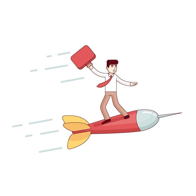 Le chef d'entreprise volant rapidement à son succès Vecteur gratuit