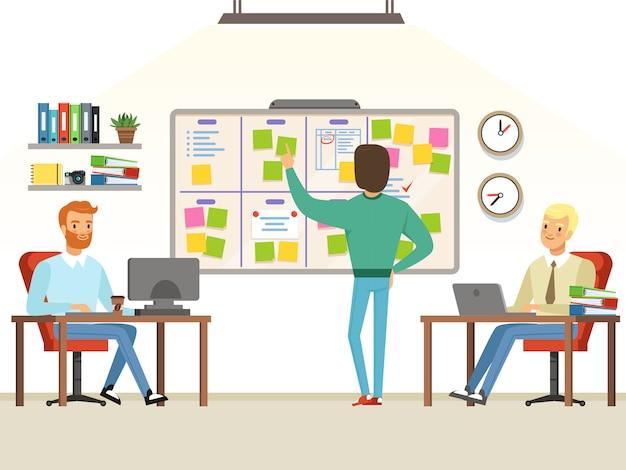 Le chef d'équipe effectue les tâches de planification au tableau Vecteur Premium