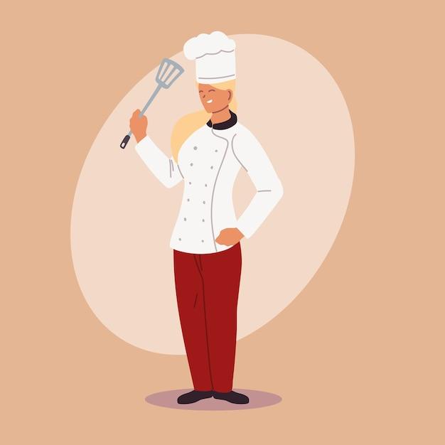 Chef Féminin Mignon Dans La Conception D'illustration Uniforme Vecteur Premium