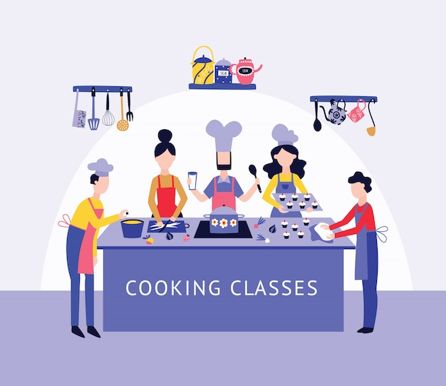 Chef Et Groupe De Personnes Cuisiner Ensemble à Table De Cuisine Style Cartoon Plat Vecteur Premium