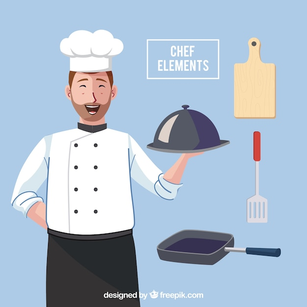 Chef Heureux Avec Divers Ustensiles Vecteur gratuit
