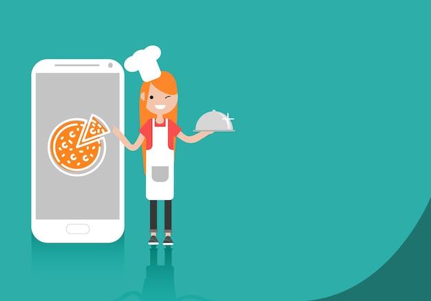 Chef de jeune personnage debout près de smartphone. Vecteur Premium