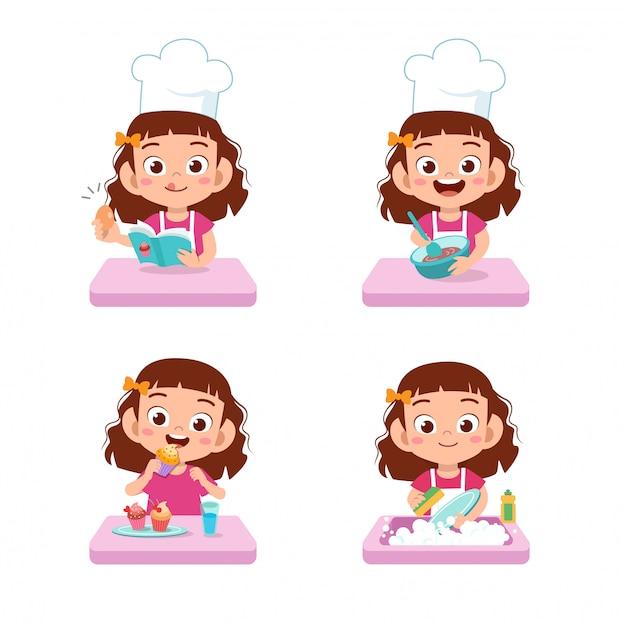 Chef kids cuisine Vecteur Premium