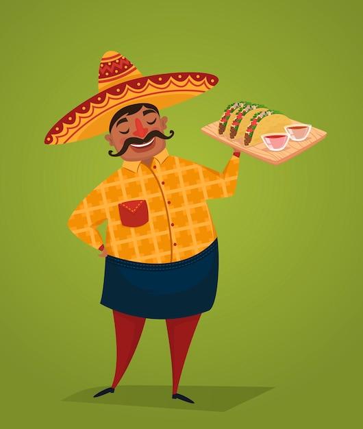 Chef Mexicain Avec Des Tacos Vecteur Premium