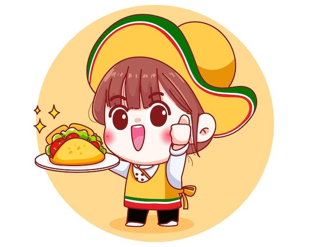 Chef Mignon Mexicain Avec Illustration De Dessin Animé De Tacos Vecteur Premium