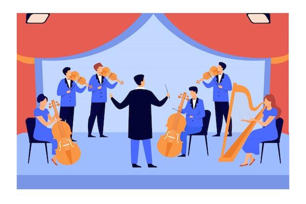 Chef D'orchestre Et Musiciens Jouant Au Violon, Harpe Et Violoncelle Vecteur gratuit