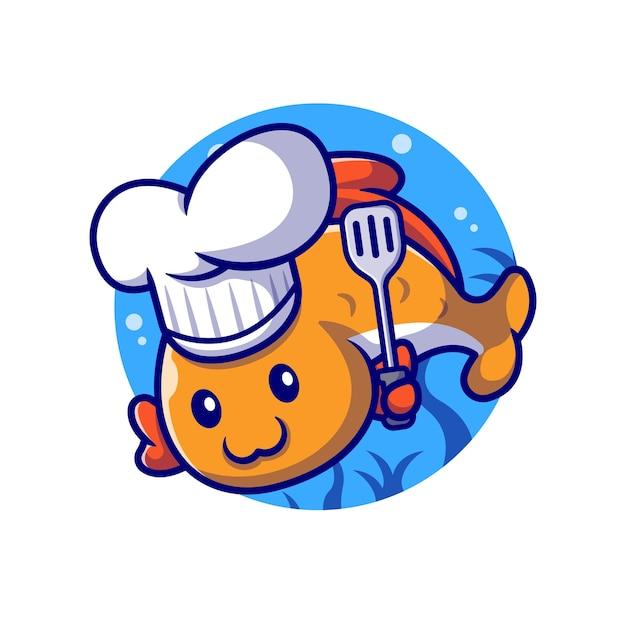 Chef De Poisson Mignon Avec Illustration De Dessin Animé De Spatule. Concept De Profession Animale Isolé. Style De Bande Dessinée Plat Vecteur gratuit