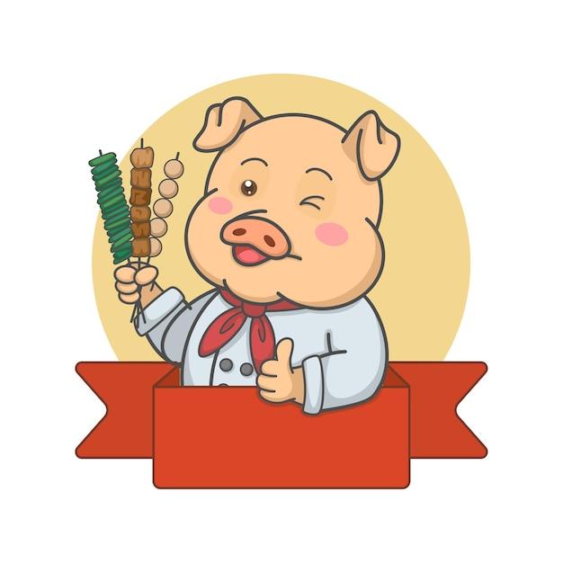 Chef De Porc Mignon Tenant Des Brochettes Vecteur Premium