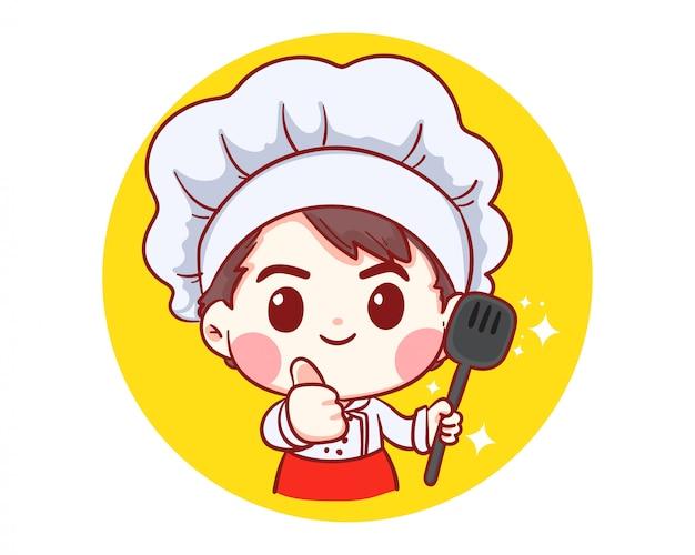 Chef Professionnel Avec Des Aliments En Mains, Occupation, Cuisine, Menu, Cuisine, Vaisselle, Cuisine, Boulangerie Logo Illustration Art Dessin Animé. Vecteur Premium