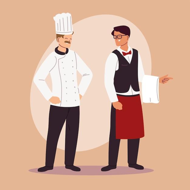 Chef Et Serveur Dans La Conception D'illustration Uniforme De Travail Vecteur Premium