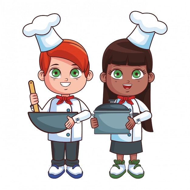 Chefs enfants cartoon Vecteur Premium