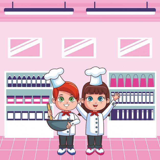 Chefs enfants cartoon Vecteur Premium