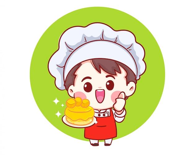 Chefs Souriants Cuisinant, Tenant Le Gâteau, Boulangerie Dessin Animé Art Illustration Logo. Vecteur Premium