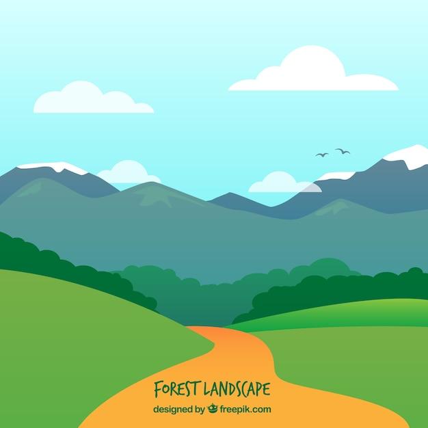 Chemin Dans Un Paysage De Montagnes Vecteur gratuit
