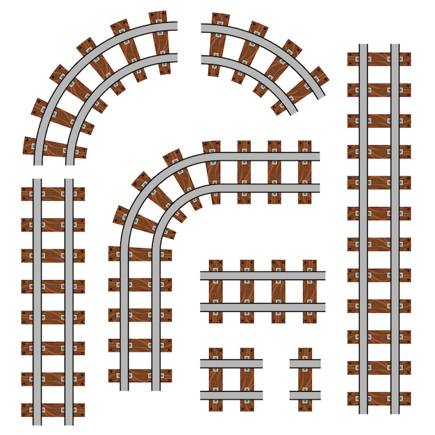 Chemin de fer courbé, voies droites. Vecteur Premium