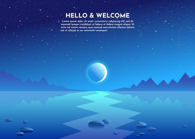Chemin Lunaire. Lune Au-dessus Des Montagnes. Nuit Sur Le Lac, Marais, Mer, Océan. Des Pierres Se Trouvent Dans L'eau. Vecteur Premium