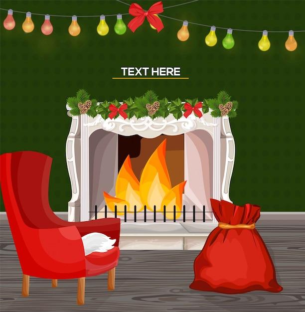 Cheminee De Cheminee D Hiver Et Cadeaux De Noel Style De Dessin