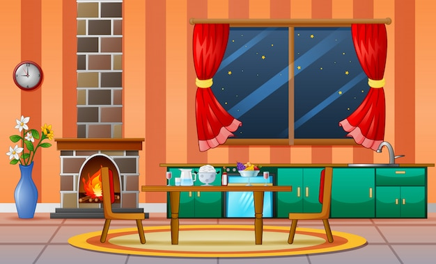 Cheminée salon famille maison meubles d'intérieur Vecteur Premium