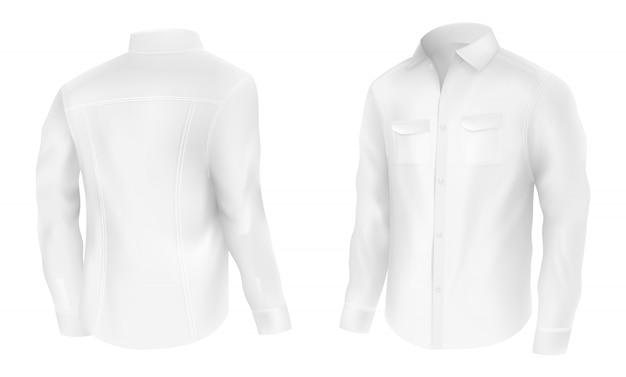 Chemise blanche classique pour homme Vecteur gratuit