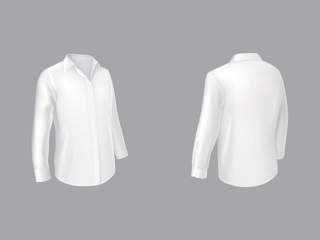 Chemise blanche à manches longues demi-tour devant Vecteur gratuit