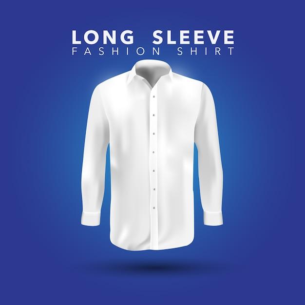 Chemise blanche à manches longues sur fond bleu Vecteur gratuit