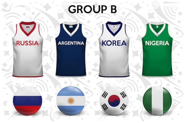 Chemises de basket. ensemble de t-shirts et de drapeaux des équipes nationales. Vecteur Premium