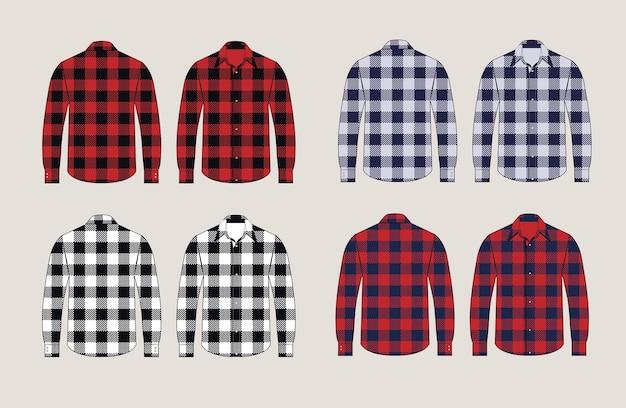 Chemises à Carreaux Design Avant Et Arrière à Motifs Vecteur Premium