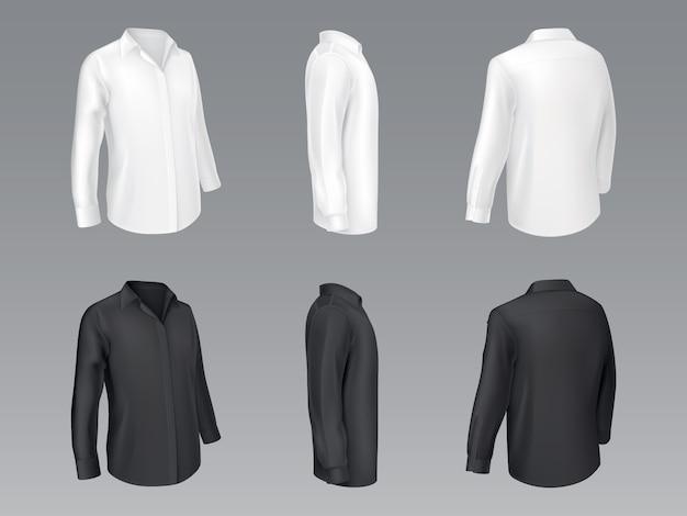 Chemises classiques pour hommes en noir et blanc, chemisier pour femme Vecteur gratuit
