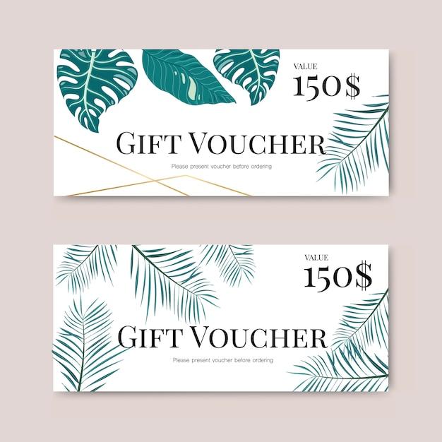 Chèque cadeau avec feuille tropicale Vecteur Premium