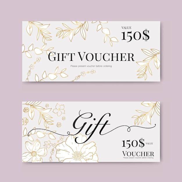 Chèque-cadeau avec fleur d'or Vecteur Premium