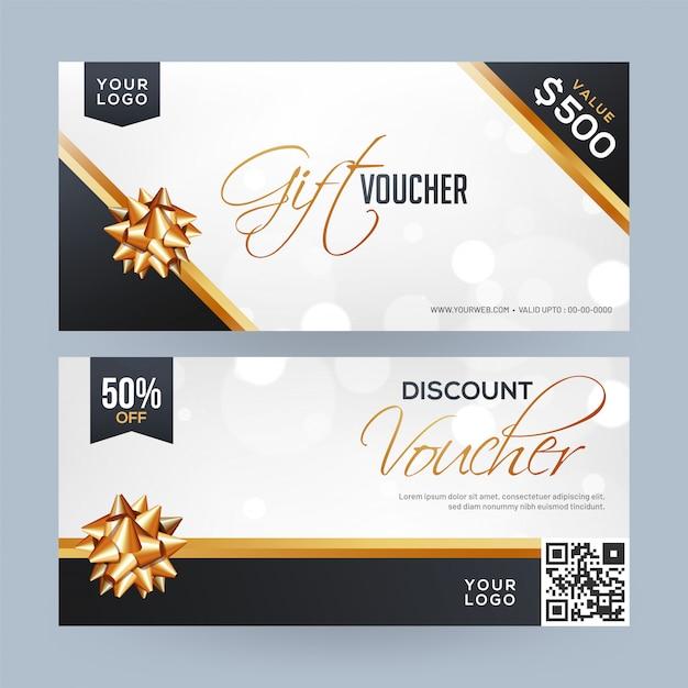 Chèques cadeaux de noël. Vecteur Premium