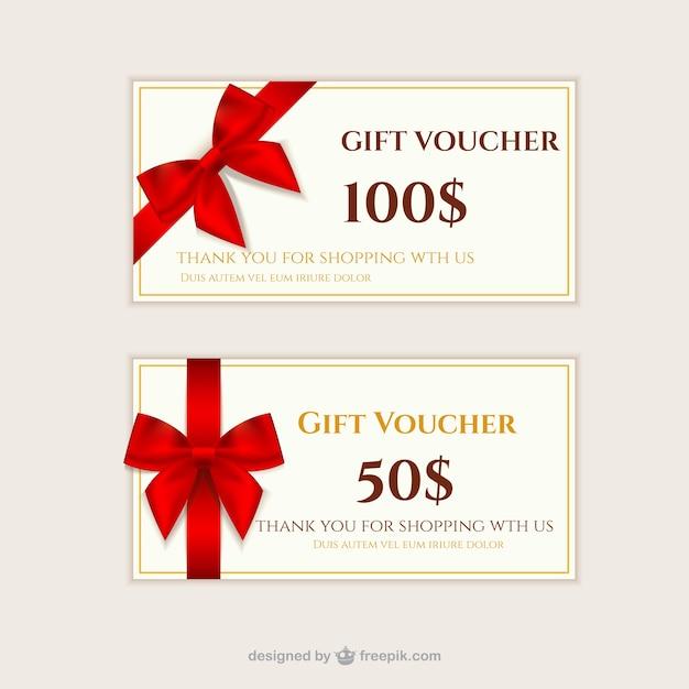 Chèques cadeaux pack Vecteur gratuit