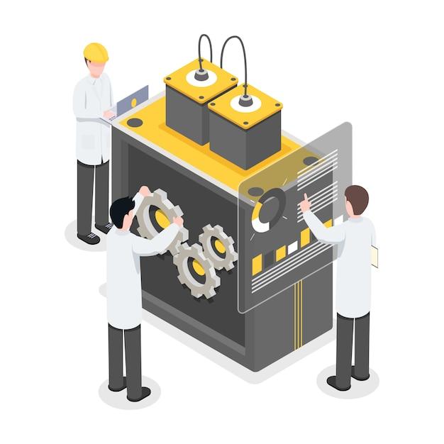 Chercheurs, ingénieurs travaillant sur la technologie, percée. personnes travaillant sur de nouvelles technologies Vecteur Premium