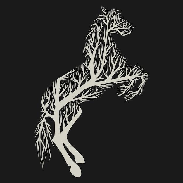 Cheval d'arbre Vecteur Premium