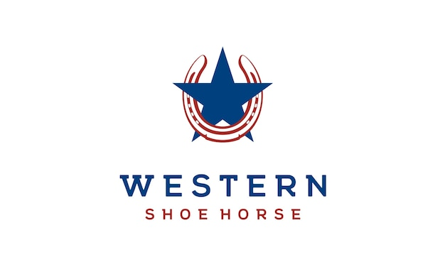Cheval de chaussure pour la création du logo country / western / cowboy ranch Vecteur Premium