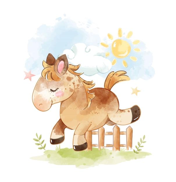 Cheval de dessin animé mignon saute à travers l'illustration de la clôture Vecteur Premium