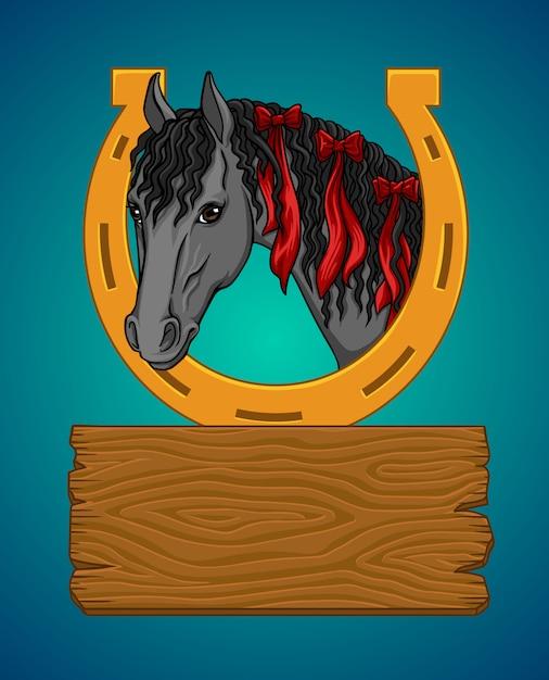 Cheval avec un fer à cheval et un panneau en bois Vecteur Premium