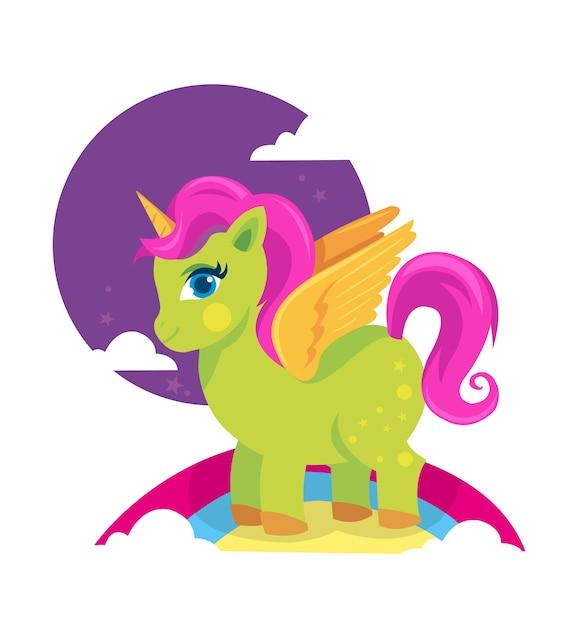 Cheval de poney vert coloré avec corne d'or Vecteur Premium