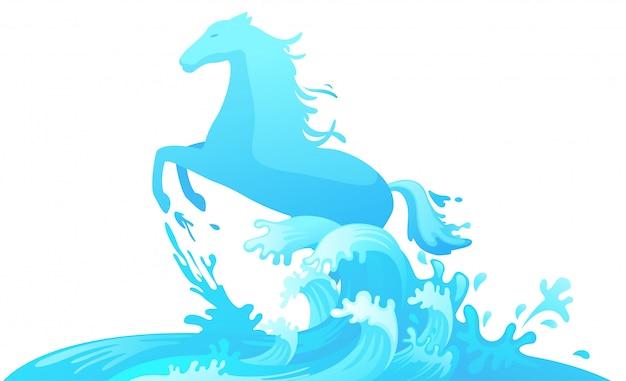 Cheval sautant hors de l'eau Vecteur Premium