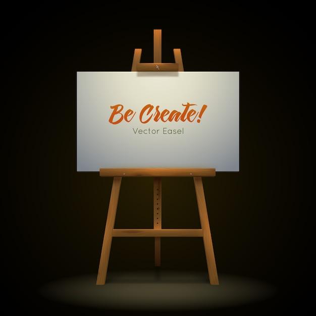 Chevalet D'artiste En Bois Vecteur gratuit