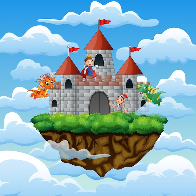 Chevalier et dragon dans le palais sur les nuages Vecteur Premium