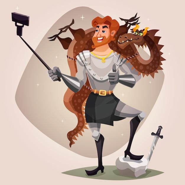 Chevalier avec dragon illustration Vecteur gratuit