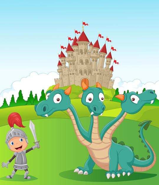 Chevalier du dessin animé avec dragon à trois têtes Vecteur Premium