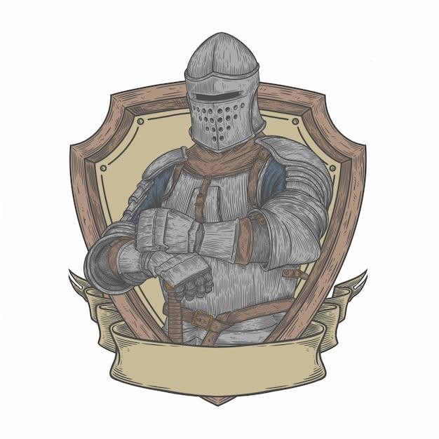 Chevalier médiéval en style de dessin Vecteur Premium
