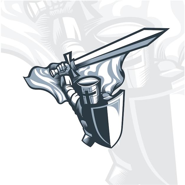 Chevalier monochrome brandissant une épée. Vecteur Premium