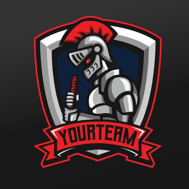 Chevalier Steel Warrior Mascot Sport Illustration Pour Logo Esport Gaming Team Squad Vecteur Premium