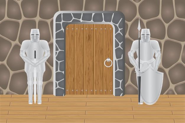 Chevaliers dans la porte du château Vecteur Premium